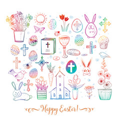 set of colored easter doodles on white background vector image