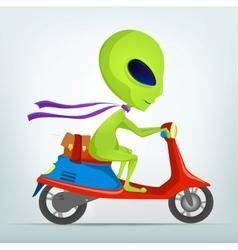 Cartoon Alien Scooter vector image