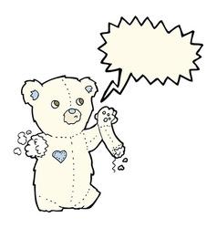 cartoon teddy polar bear with torn arm with speech vector image
