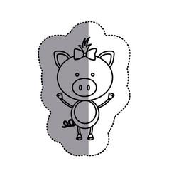 contour teddy pig bow head vector image