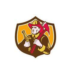 Fireman Firefighter Axe Hose Crest Woodcut vector image