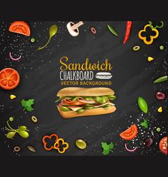 fresh sandwich chalkboard background vector image vector image