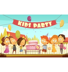 Kids Party Cartoon Background vector image vector image