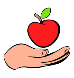 a hand giving a red apple icon icon cartoon vector image