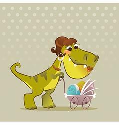 Cartoon Dinosaur With Stroller vector image vector image