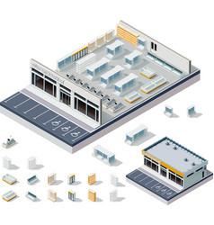 isometric DIY supermarket interior plan vector image vector image
