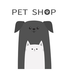 pet shop icon dog and cat animal happy pets set vector image