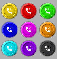 Phone icon sign symbol on nine round colourful vector image