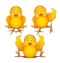 Set of cute cartoon chickens vector image