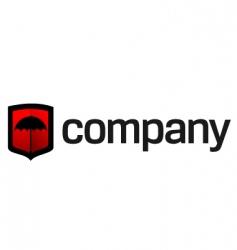 umbrella on shield logo vector image vector image