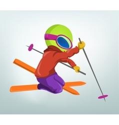 Cartoon Alien Skiing vector image vector image