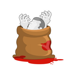corpse in sack with bloody puddles dissected dead vector image