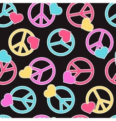 Seamless pattern with peace signs hearts vector image