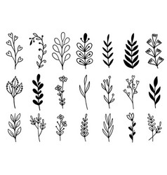 0187 hand drawn flowers doodle vector