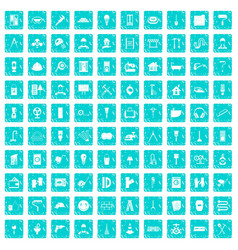 100 renovation icons set grunge blue vector