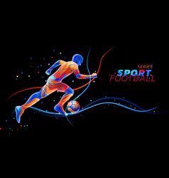 3d football player with neon light lines vector