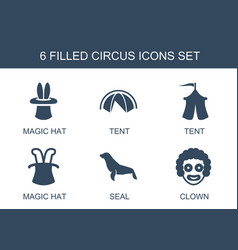 6 circus icons vector image