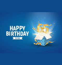 65 th years anniversary banner with open burst vector