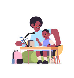 African american father helping son doing homework vector