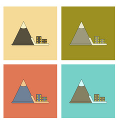 Assembly flat icons mountain avalanche house vector