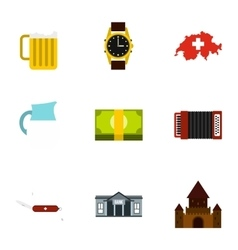 Attractions of Switzerland icons set flat style vector image