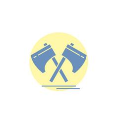 axe hatchet tool cutter viking glyph icon vector image