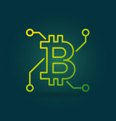 bitcoin green linear icon on dark vector image