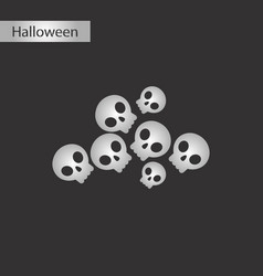 black and white style icon halloween skulls vector image