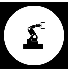 Black isolated robotic arm symbol simple icon vector