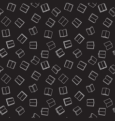 Books dark outline seamless pattern vector
