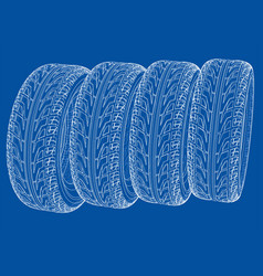 car tires concept rendering of 3d vector image
