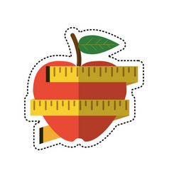 cartoon apple measuring tape lose weight vector image