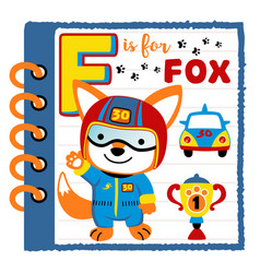 Cartoon note book paper with fox racer vector