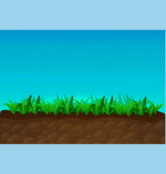 cartoon with green grass and blue sky vector image