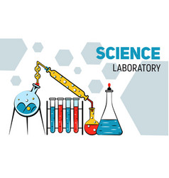 chemistry laboratory concept banner cartoon style vector image
