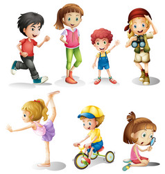 children in many actions vector image