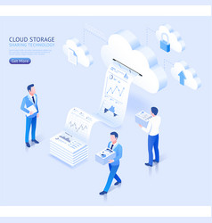 Cloud storage sharing technology isometric vector