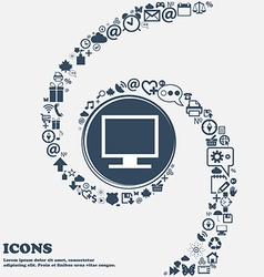 Computer widescreen monitor icon sign in the vector