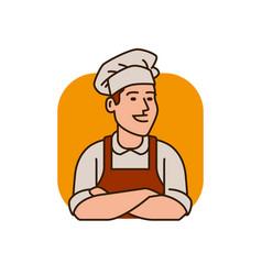 cook in hat logo menu design for restaurant and vector image