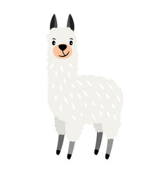 Cute alpaca icon vector