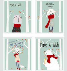 Cute birthday cartoon cardbaby shower theme vector