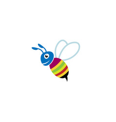 cute colorful bee smile logo vector image