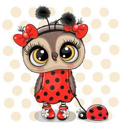 cute owl girl in a ladybug costume and ladybug vector image