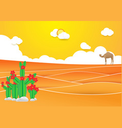 desert landscape cactus and camel in desert vector image