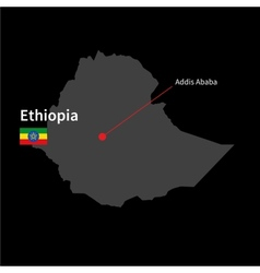 Detailed map of Ethiopia and capital city Addis vector