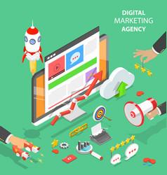 digital marketing agency flat isometric vector image