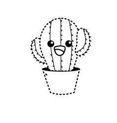 Dotted shape kawaii cute tender cactus plant vector