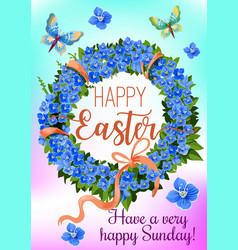Easter wreath of spring flowers greeting card vector