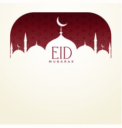 Eid mubarak background with mosque and text space vector