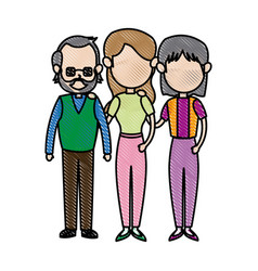 Family parent with grandparents embracing image vector